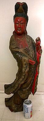 Antique Buddha Chinese Wood Red Lacker Guanyin KWAN-YIN Statue Large Figure