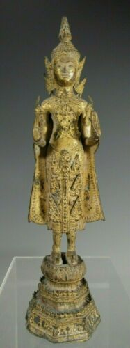 Thai Thailand Rattanakosin Period Gilded Bronze Standing Buddha ca. 19th c