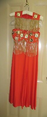 Rare 1960's Vintage Women's Go Go Mod Disco Diva Orange Custom Designed Outfit