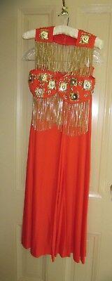 Rare 1960's Vintage Women's Go Go Mod Disco Diva Orange Custom Designed Outfit - Disco Diva Outfit