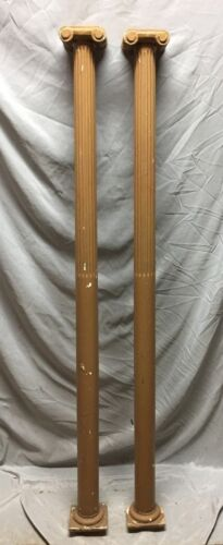 Pair Antique Wood Fluted Fireplace Furniture Ionic Columns 571-18C