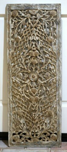 Antique Thai Hand Carved Silver & Gold Wood Panel Masterful Craftsmanship 36X13