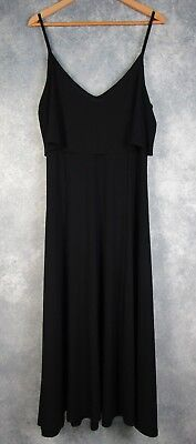 Sympli the Best Black Cascade Strappy Dress; Stretch V-Neck; 12