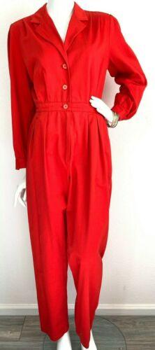 VTG 80s Jumpsuit Pantsuit Blouson Notch Collar Betty Hanson Red Cotton M-L 10