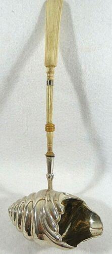 Mid 18th Century German SIlver & Bone Punch Ladle Maker Unknown Shell Pattern