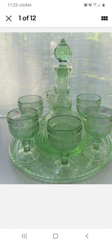 VINTAGE TIARA SANDWICH CHANTILLY GREEN 9 PIECE WINE CORDIAL DECANTER SET W TRAY