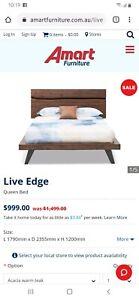 Live edge amart queen bed