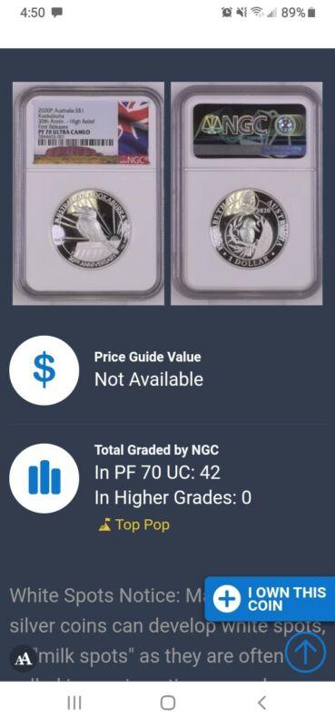 2020 Australia HIGH RELIEF 1oz Silver Kookaburra 30 Ann $1 Coin NGC PF70 +OGP FR