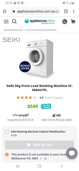 Seiki 5kg Front Load Washing Machine Washing Machines Dryers