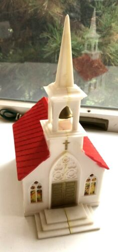 Vtg GloLite Christmas Lighted Church Hard Plastic Red and White Works!