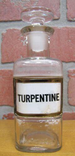 TURPENTINE Antique Reverse Glass Label Bottle Apothecary Drug Store Medicine