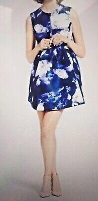 KATE SPADE New York JOSE Cloud Print Blue/White Half-Zip Pleated Dress, US 2