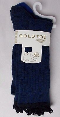 (Gold Toe 2 Pack Women's Marl Lace Boot Crew Socks Navy Blue Sock Size 9-11)