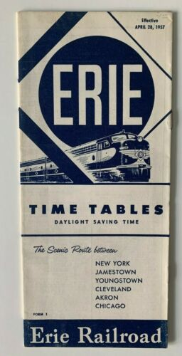 Vintage 1957 Erie Railroad RR Time Tables Timetable Booklet Brochure NY Chicago
