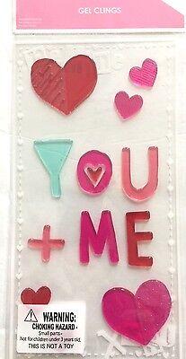 Heart You + Me Valentine's Day  Window Gel Stickers Cling Decor classroom locker (Valentine Classroom Decorations)