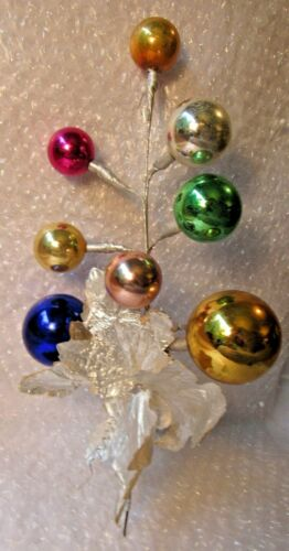 """Christmas Glass Bulbs Pick 11.5"""" LARGE COBALT PINK SILVER LEAVES OCCUPIED JAPAN"""