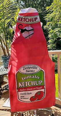 Adult Ketchup Costume (NWT ADULT ZESTYVILLE FARMS TOMATO KETCHUP BOTTLE ONE PIECE HALLOWEEN COSTUME)