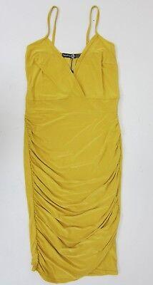 Slinky Mini Dress - Boohoo Women's Tall Hollie Ruched Side Slinky Mini Dress US 6 Amber Yellow  NWT