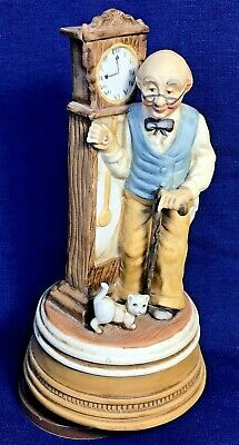 GRANDFATHER'S CLOCK Music Box, Porcelain Clock Grandfather & Cat 8 in, VINTAGE