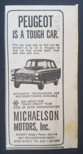 1964 Peugeot Michaelson Motors Baltimore Car Dealership Vintage Print Ad