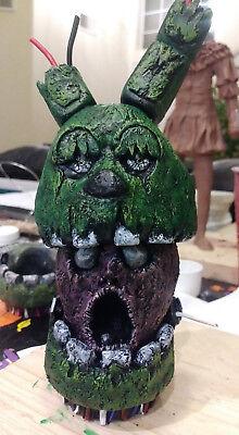 """Purple Guy Skull in Springtrap Fnaf 3 Piece Resin Painted Sculpture 7""""in. OOAK"""
