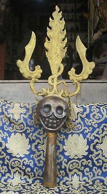 Antique Tibetan Tantrik iron Tirsula Skull Khatvanga, Magical Wand.Nepal