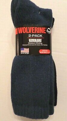 Wolverine Mens Cotton Blend Cushioned Mid Calf Sock 2 Pk Blue/Black Shoe Sz 9-13 2pk Cotton Sock