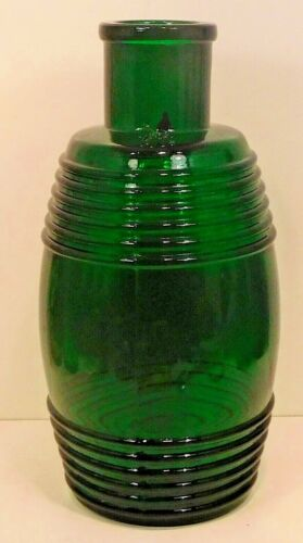 LARGE GREEN BARREL SHAPED RINGED  PICKLE / FOOD BOTTLE -JAR  HANDBLOWN