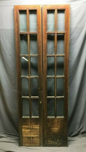 Pair Vintage 10 Lite Varnished Door Sidelights Cabinet 15x84 Windows 265-20B