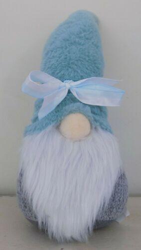 Gnome Teal and Gray Shelf Sitter Plush Decor Ribbon Beard