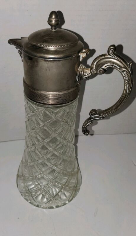 Vintage Italian Crystal Glass & Silver Plate Decanter Pitcher
