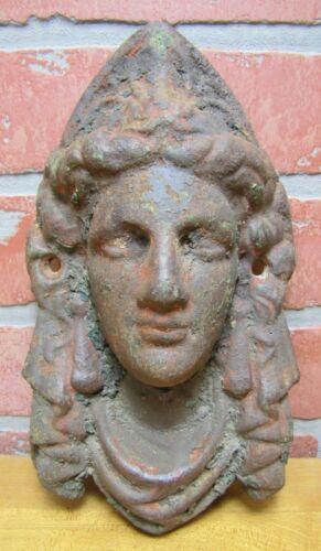 Antique Maidens Head Cast Iron Figural Architectural Salvage Hardware Element A