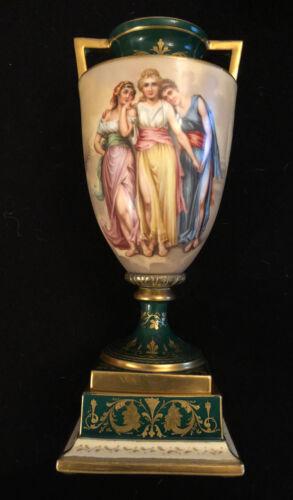 Royal Vienna Hand Painted Artist Signed Porcelain Urn Vase with Lid