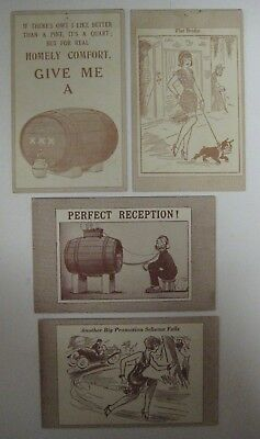 Vintage Lot of 4 Penny ARCADE EXHIBIT CARDS Comic Humorous Funny Blank Backside