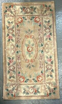 Vintage Chinese Wool Carpet Geometric Flower Pattern