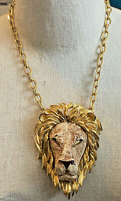60s -70s Jewelry – Necklaces, Earrings, Rings, Bracelets 1960's Luca RAZZA Large Sculptural Ceramic LION HEAD Pendant Necklace Gold Tone $64.99 AT vintagedancer.com