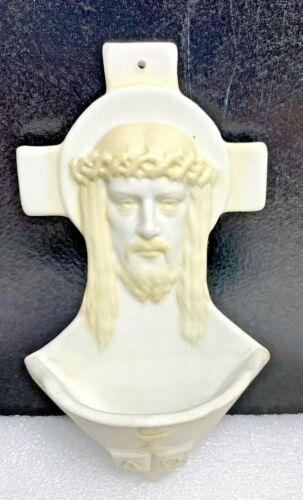 Vintage Holy Water Font Jesus Alpha Omega Bisque Ceramic White & Yellow