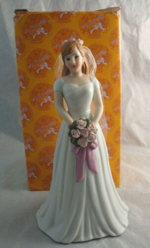 Enesco Growing Up Birthday Girls Brunette Bride Wedding Porcelain Figurine New