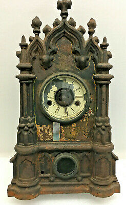 Antique C. Chinnocks Iron Front Mantel Clock With Alarm