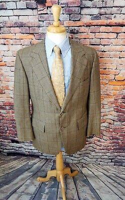 Norman Hilton 40L 2 Button Taupe Blue Plaid TWEED WOOL Sport Coat Jacket Blazer