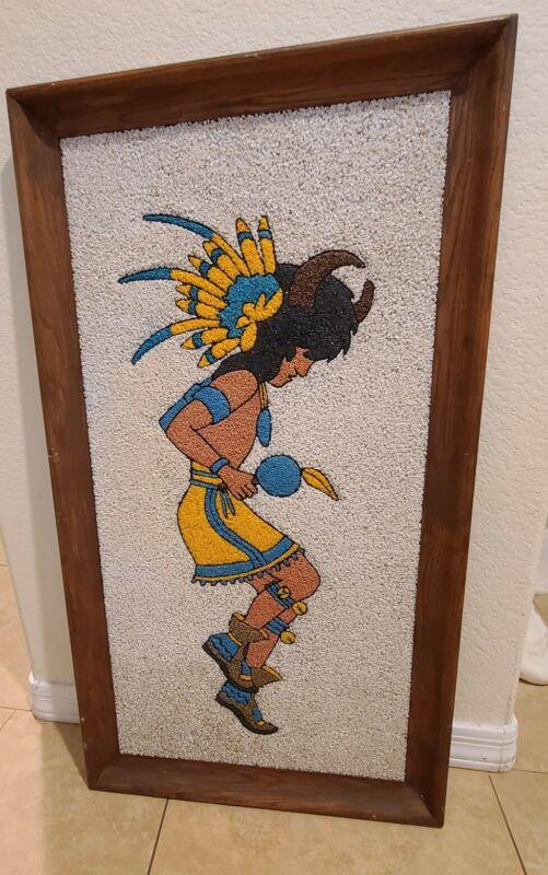 MCM Native American Indian Dancer Pebble Gravel Art Large Framed