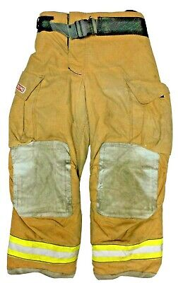 36x30 Globe Gxtreme Brown Firefighter Turnout Pants With Yellow Tape P1222