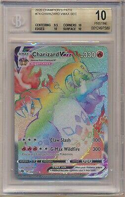 BGS 10 Pokemon Champion's Path Rainbow Secret Charizard VMax 074/073 PRISTINE!!