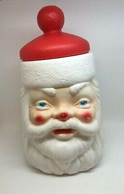 Vintage Santa Claus Head Plastic Cookie Jar Blow Mold Christmas Decoration BIN