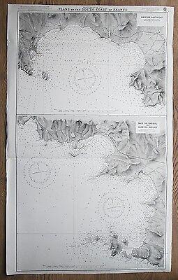 1914 FRANCE BAIE DE LA CIOTAT DE BANDOL DE SANARY VINTAGE ADMIRALTY CHART MAP