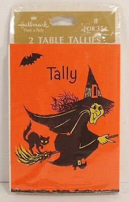 Hallmark Halloween Witch Tally Cards Sealed Package 8 Pieces Table Tallies - 1960s Halloween Cards