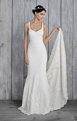 Nicole Miller Janey Lace Gown Ivory Women's Bridal Wedding Dress Gown Size 6