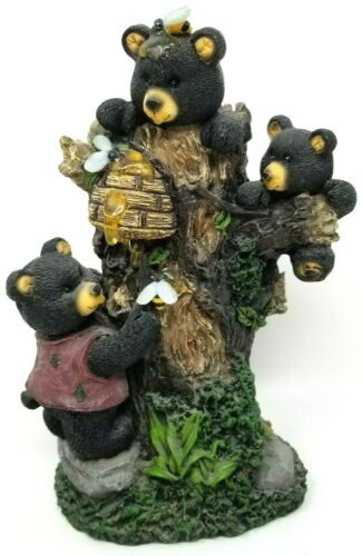 "7.5"" Resin Black Bears in Tree with Honey Hives"