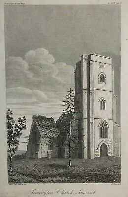 1825 Antique Print; St Mary's Church, Limington, Somerset after Rev Rackett segunda mano  Embacar hacia Argentina
