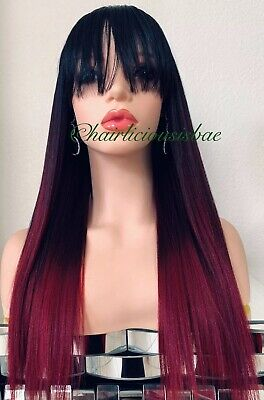 long straight wig with bangs Ombré Red Wine Burgundy Black Heat Resistance Ok (Long Red Wig With Bangs)